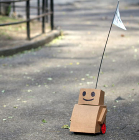 Tweenbots    are human-dependent cardboard robots that navigate cities with the help of pedestrians.    HitchBOT    is a similar project. Tweenbots won't take over the world. They promise.