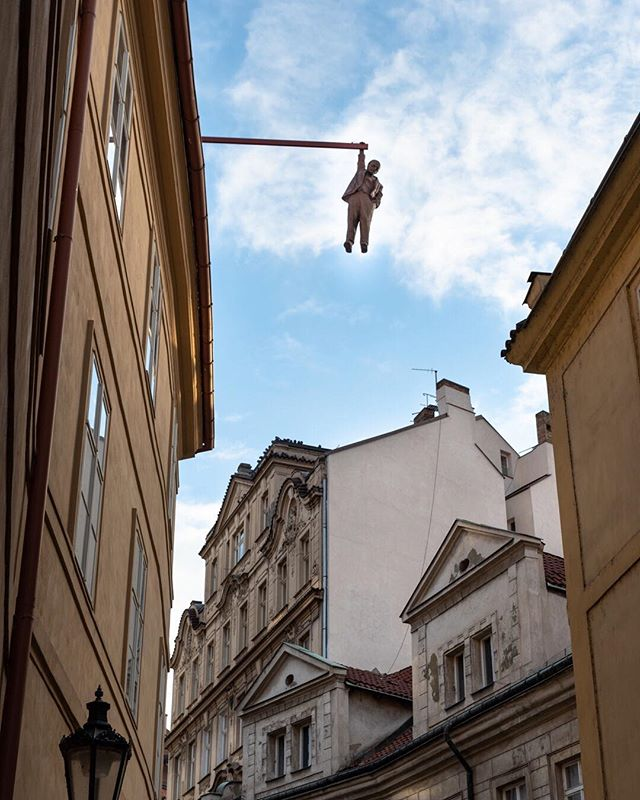 When strolling through the streets of Prague don't forget to look up. Otherwise you might miss interesting things like this one.