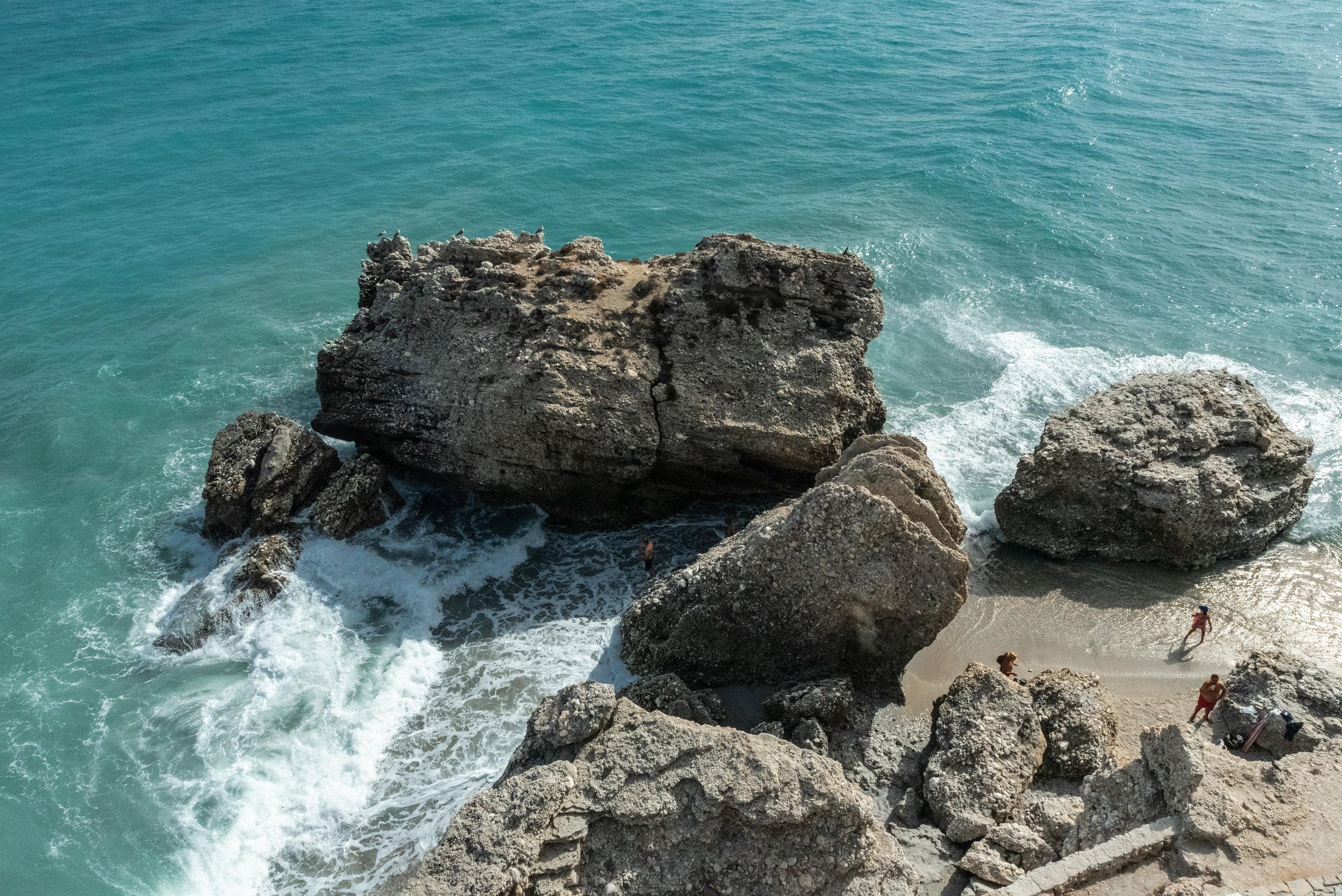 nerja sea water crashing on the rocks, Spain