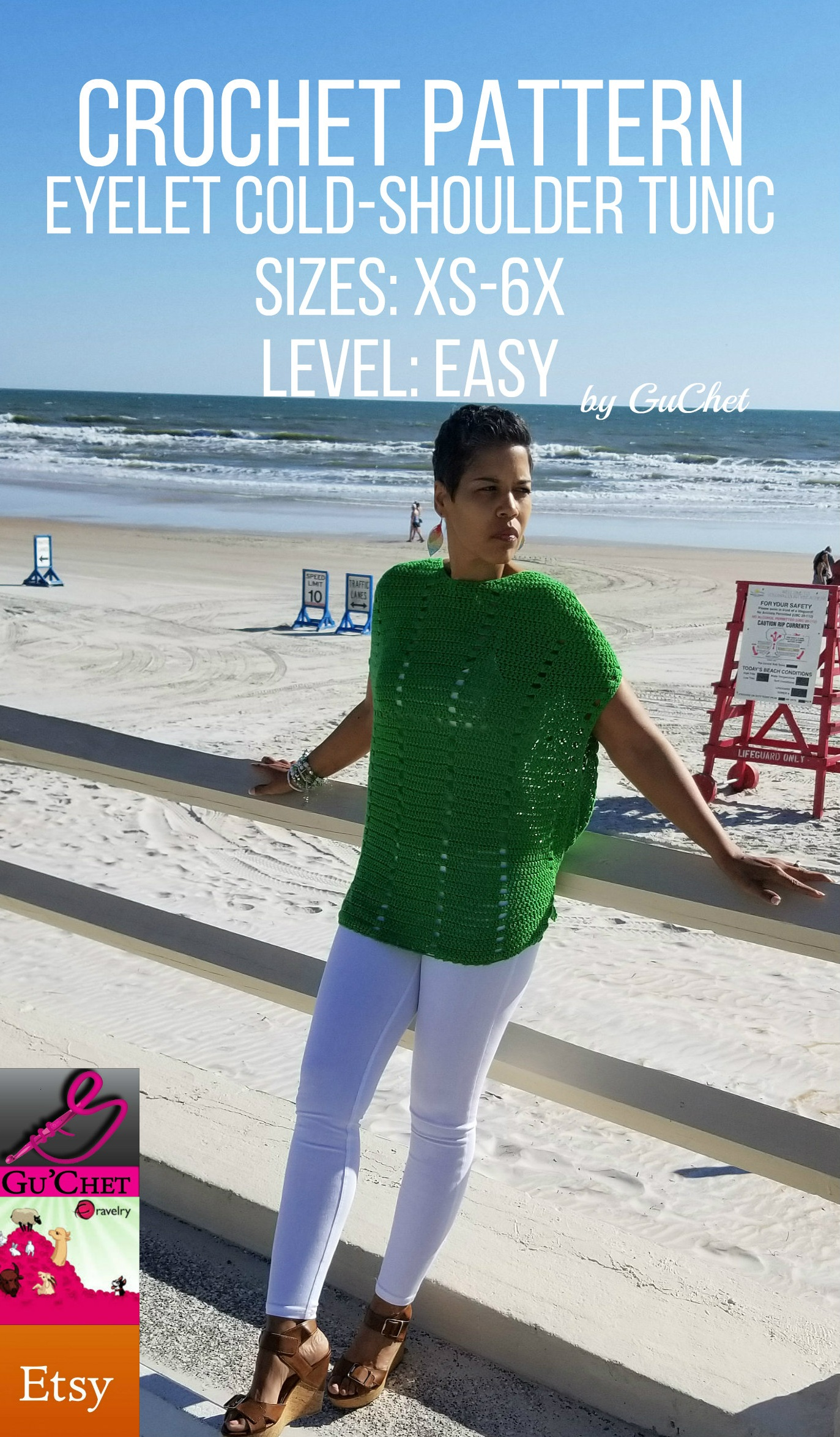 Crochet Top Pattern - Crochet Tunic Pattern - Eyelet Cold Shoulder Top - Crochet Shirt Pattern - Plus Size Crochet - Digital Download Guchet