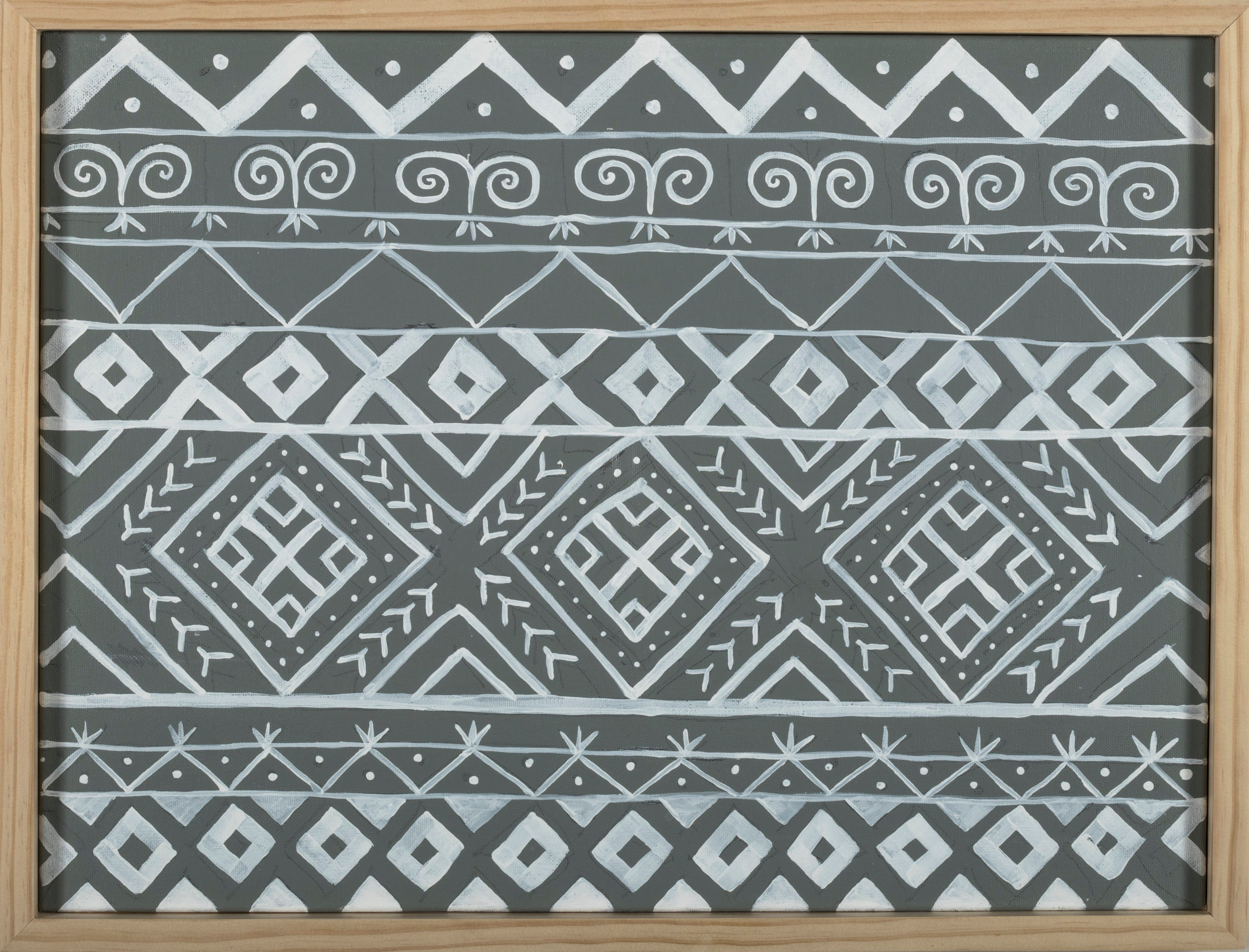 Above is a pattern from an exterior decorative painting style in Slovakia, reminiscent of Polish Pisanka egg designs.