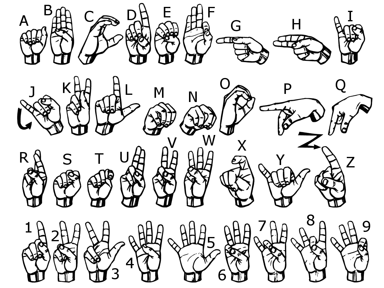 A diagram of the ASL alphabet. Learning sign has changed my life.