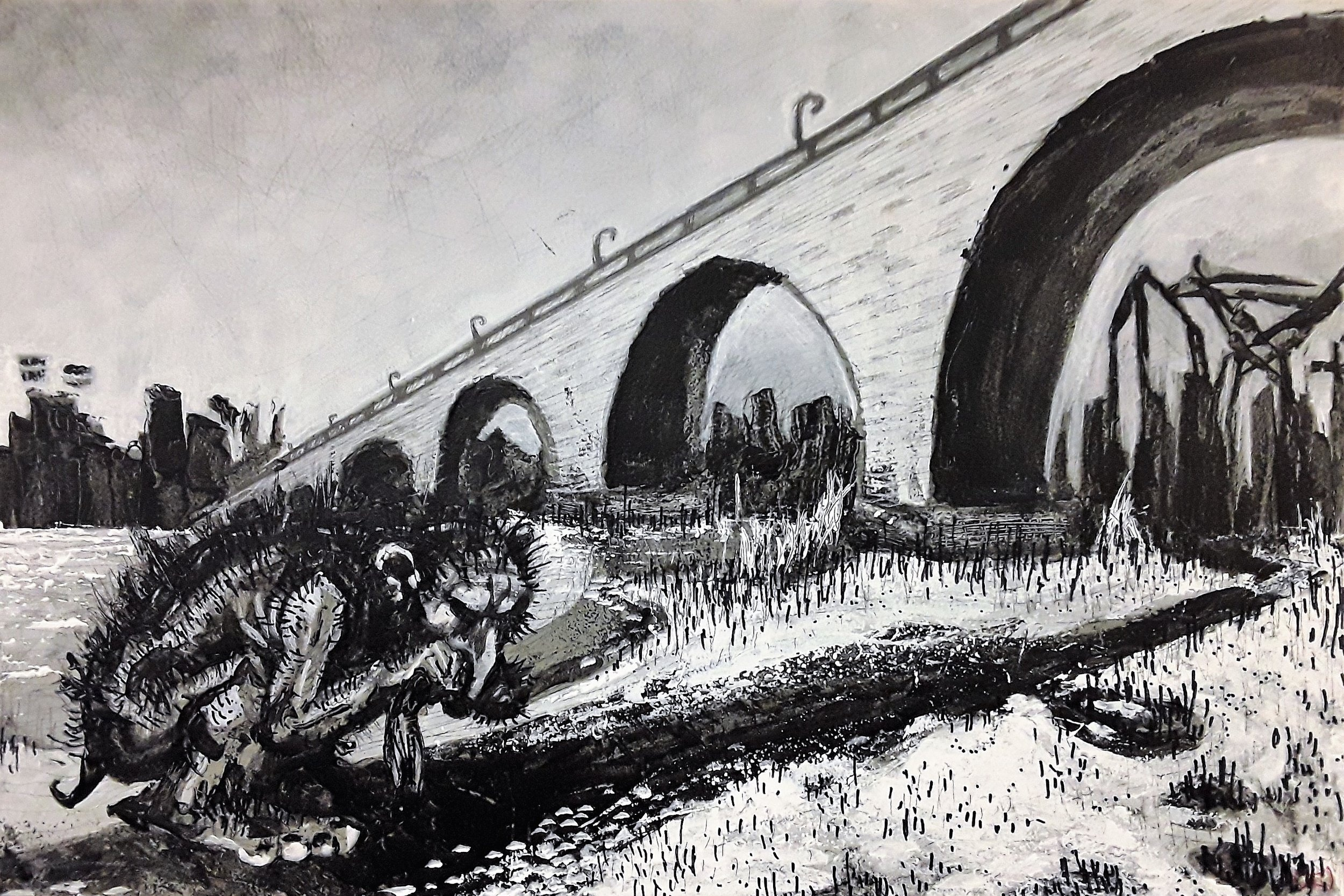 A Troll crouches to eat a fish near the Stone Arch Bridge, crossing over the great Mississippi river.