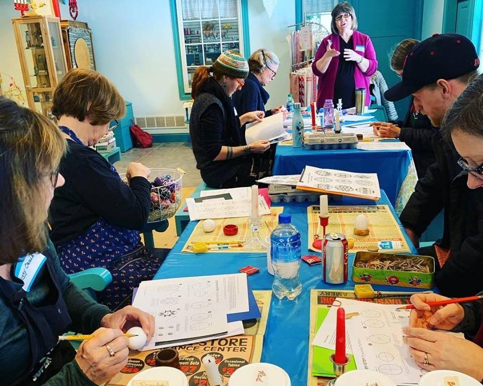 Pisanki class with Laurelie Creuzer. Photo Credit: Marine Mills Folk School.