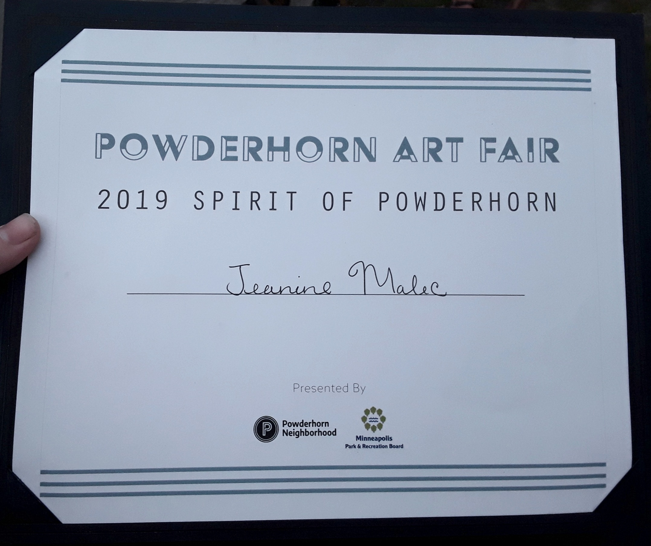 Thanks to the organizers and judges of the Powderhorn Art Fair for the great honor of being selected for the Spirit of Powderhorn award at this year's event! The park to me is the jewel of the neighborhood, and everyone who passes through has a story to share about how this place has touched their lives. @powderhornart is where I get to see all my neighbors together in community, so much gratitude for this experience!