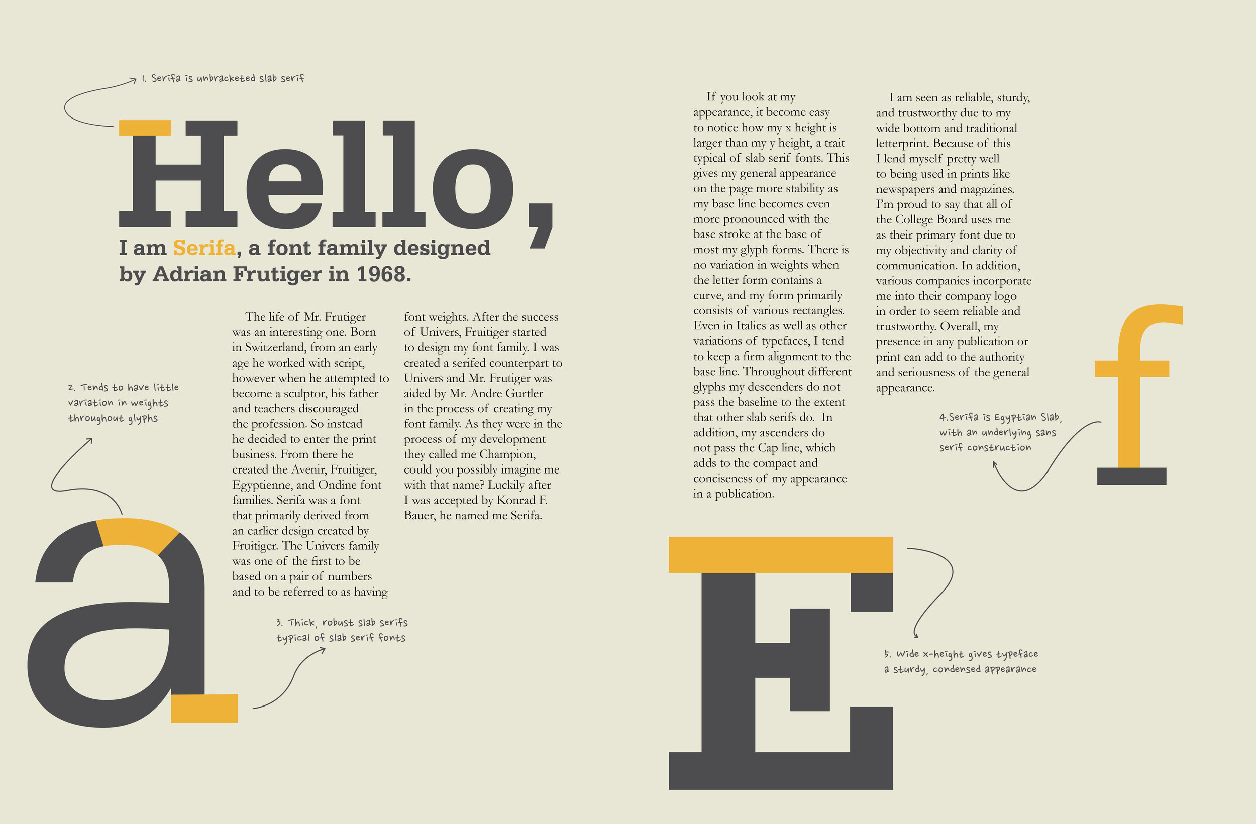 Adobe Illustrator: Typeface spread done in conjunction with video. Includes essay conducted about the typeface.