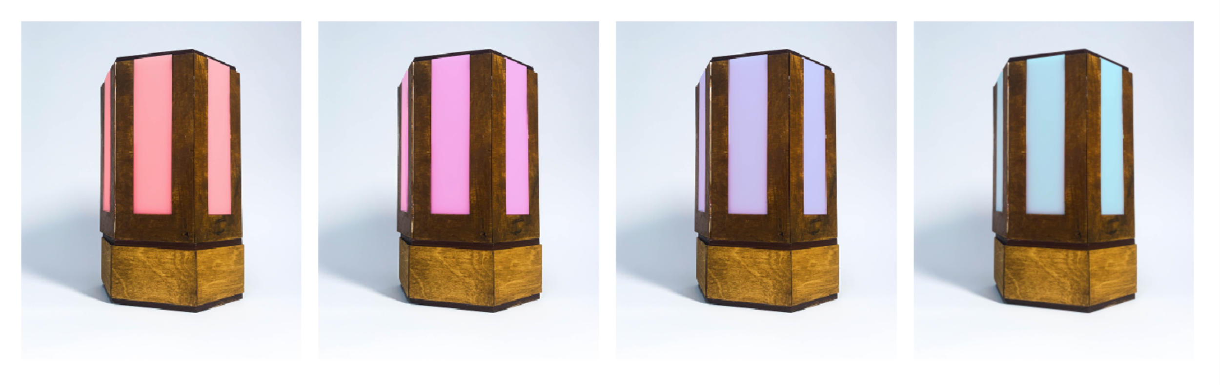 Different humidity levels of the lamp and their corresponding color. Color changes in increments on the RGB scale. 1. Red Hue: 0-30% humidity level, 2. Pink Hue: 30-60% humidity level, 3. Purple Hue: 60-90% humidity level, 4. Blue Hue 90-100% humidity level