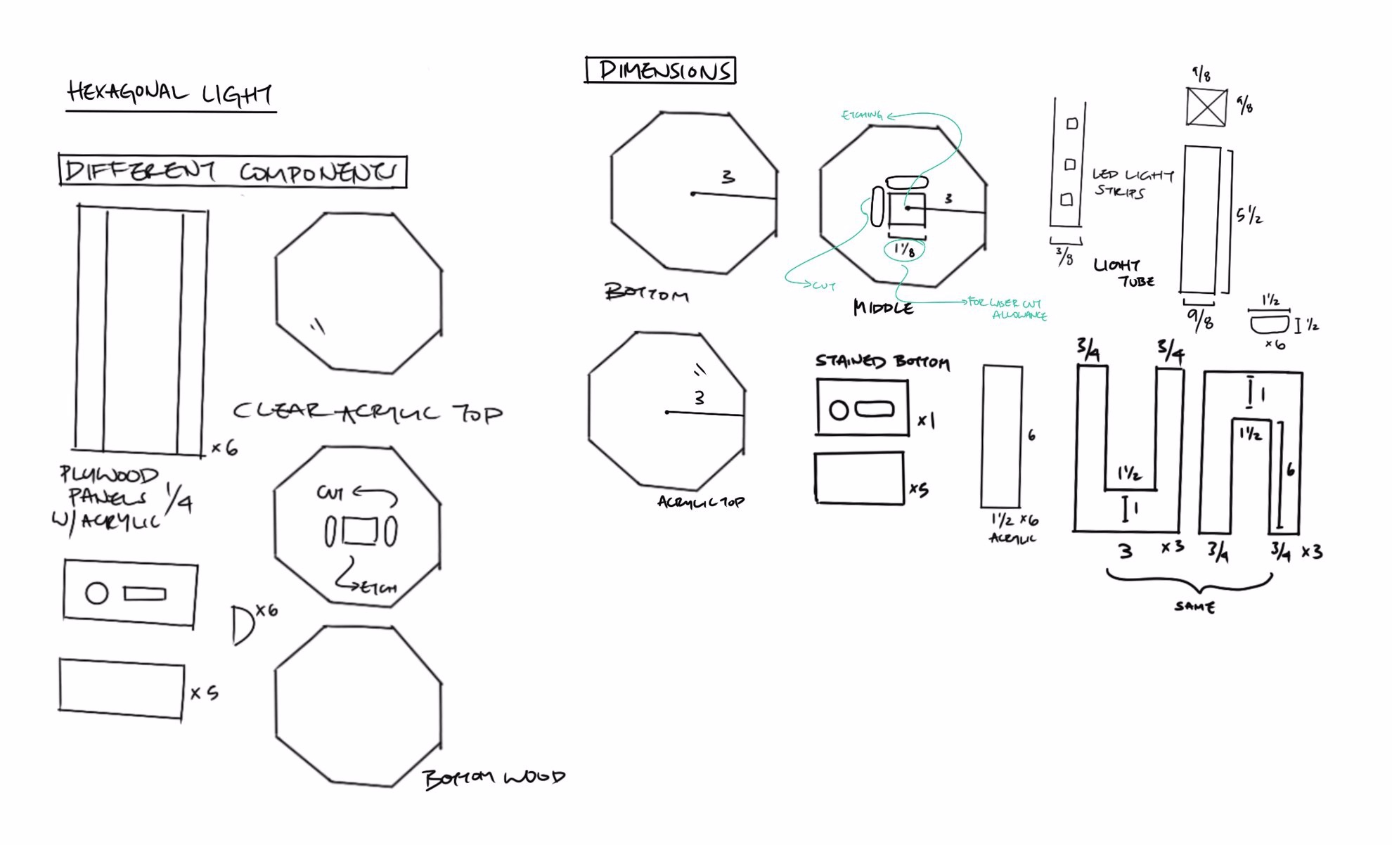 Sketching out dimensions and laser cut pieces of the lamp prior to beginning physical fabrication