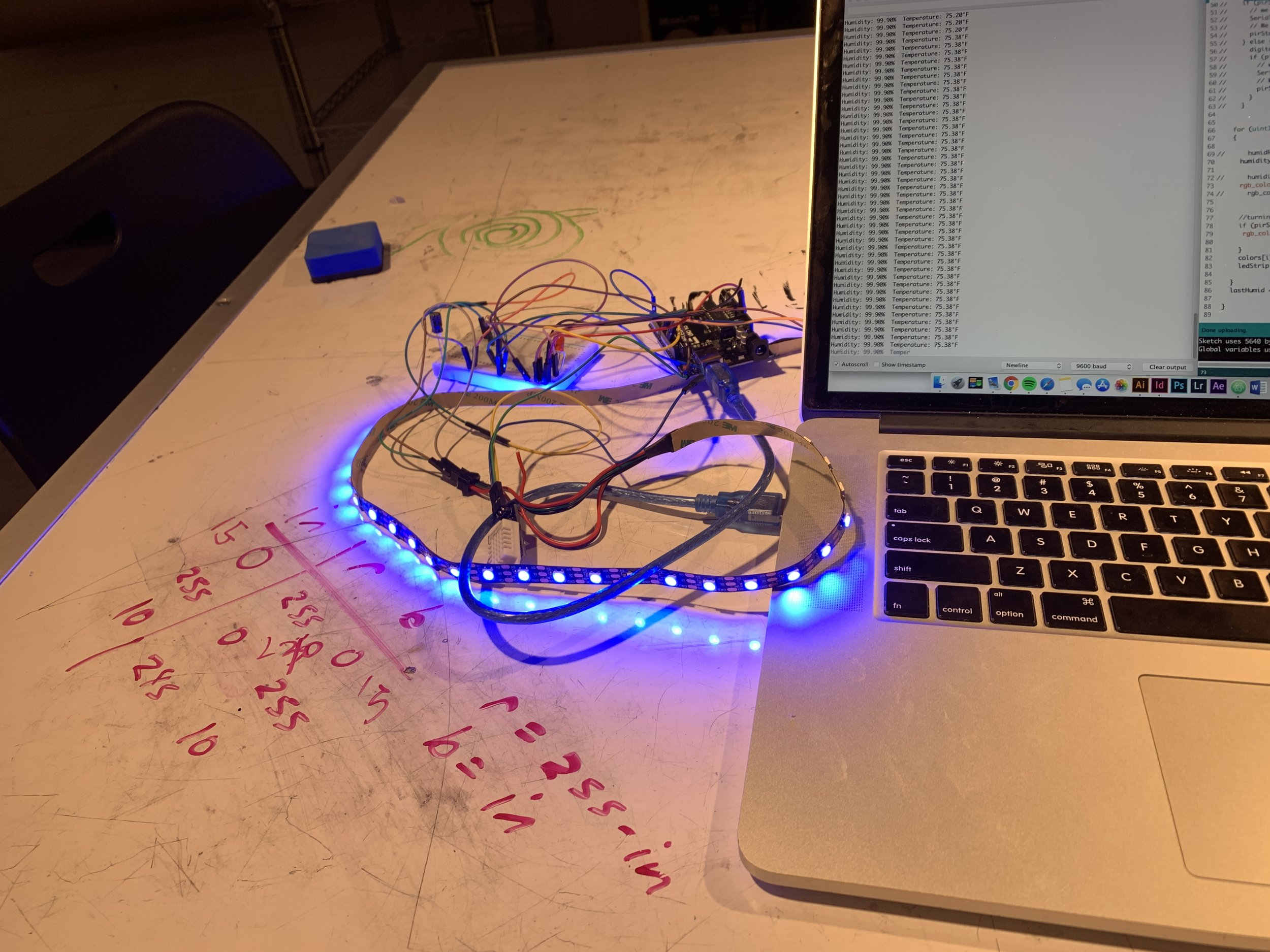 Coding the humidity levels to affect the color of the LED's