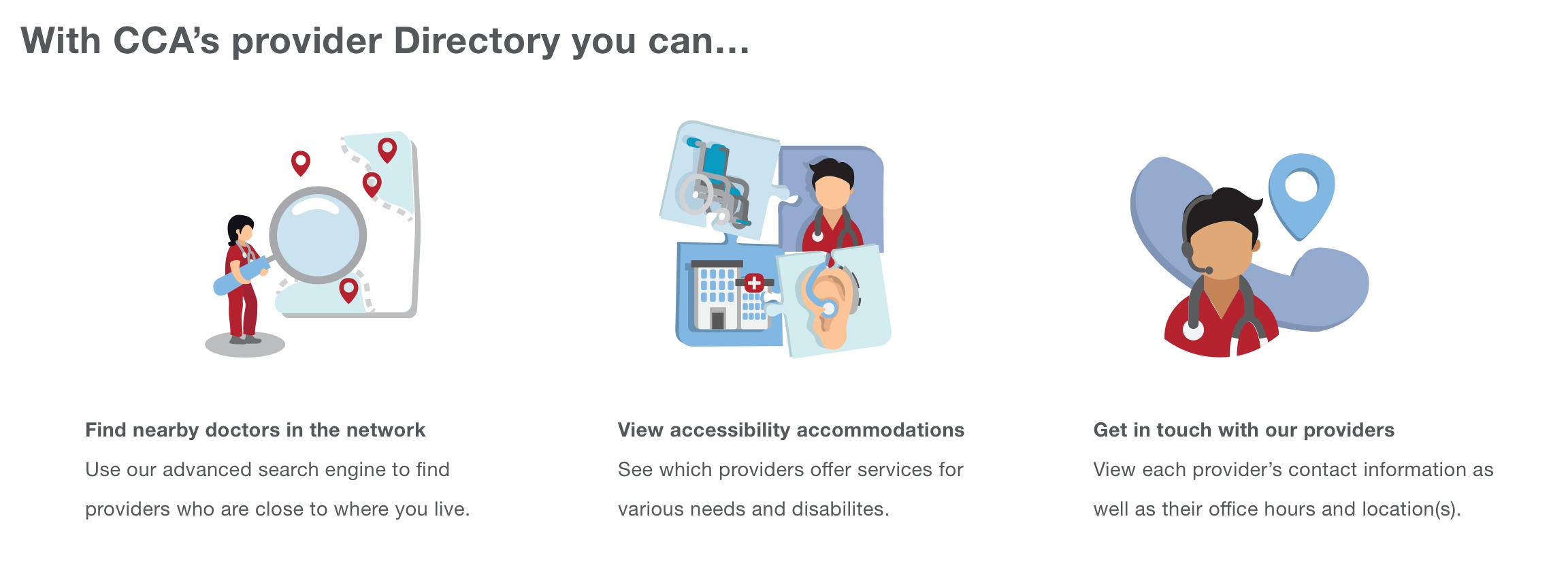 Infographics explaining CCA's Provider Directory (Adobe Illustrator)