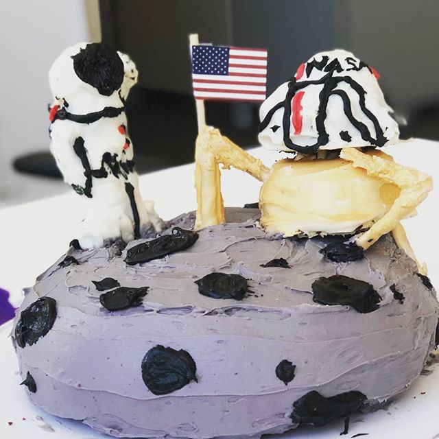 Yesterday, I made a Moon Landing cake for work as part of Public Radio Cake Week....The reception was out of this world. Lol #nailedit