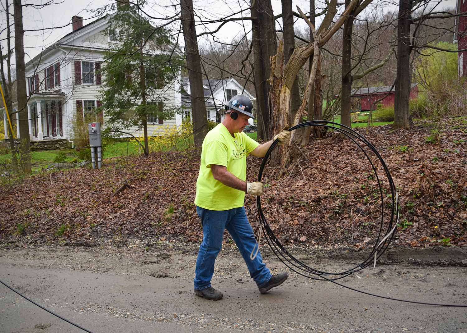 Fiber Connect Crew Member Pulling & Coiling Fiber Optic Cable, Egremont, MA