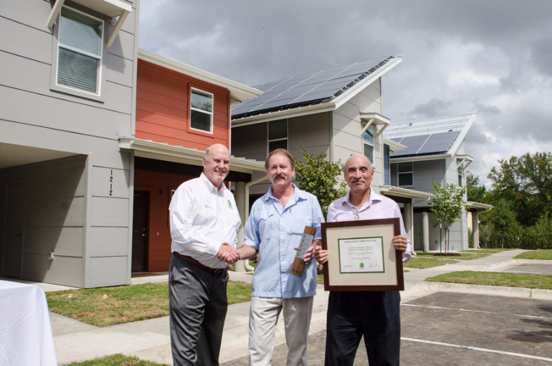 2013 ribbon cutting at Guadalupe Saldana Net Zero Subdivision - 5 star green building rating!