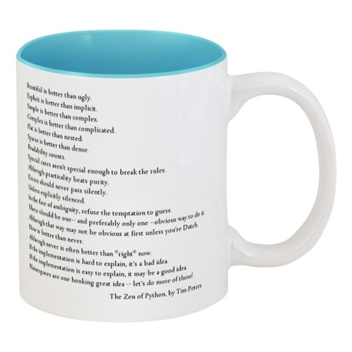 The Tea of Python - Кружка с текстом Zen of Python и логотипом SPb Python на другой стороне