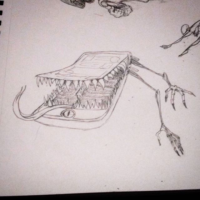 #sketch of a phone #mimic #concept I sketched up. #fantasy #drawing #characterdesign