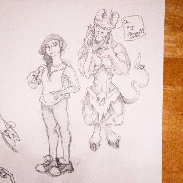More #sketchdump sketches. A surprised #demon and a casual #girl. #drawing #characterdesign