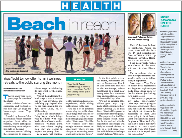"""""""Beach in Reach"""" Featured in the August 8, 2018 edition of AM New York."""