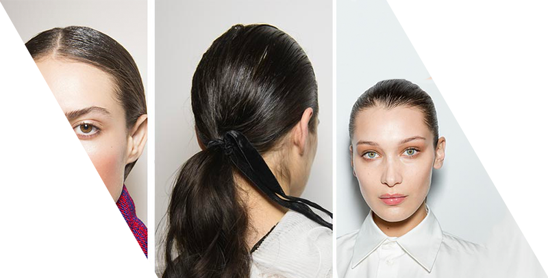hair accessories: slicked back hair and sleek ponytails
