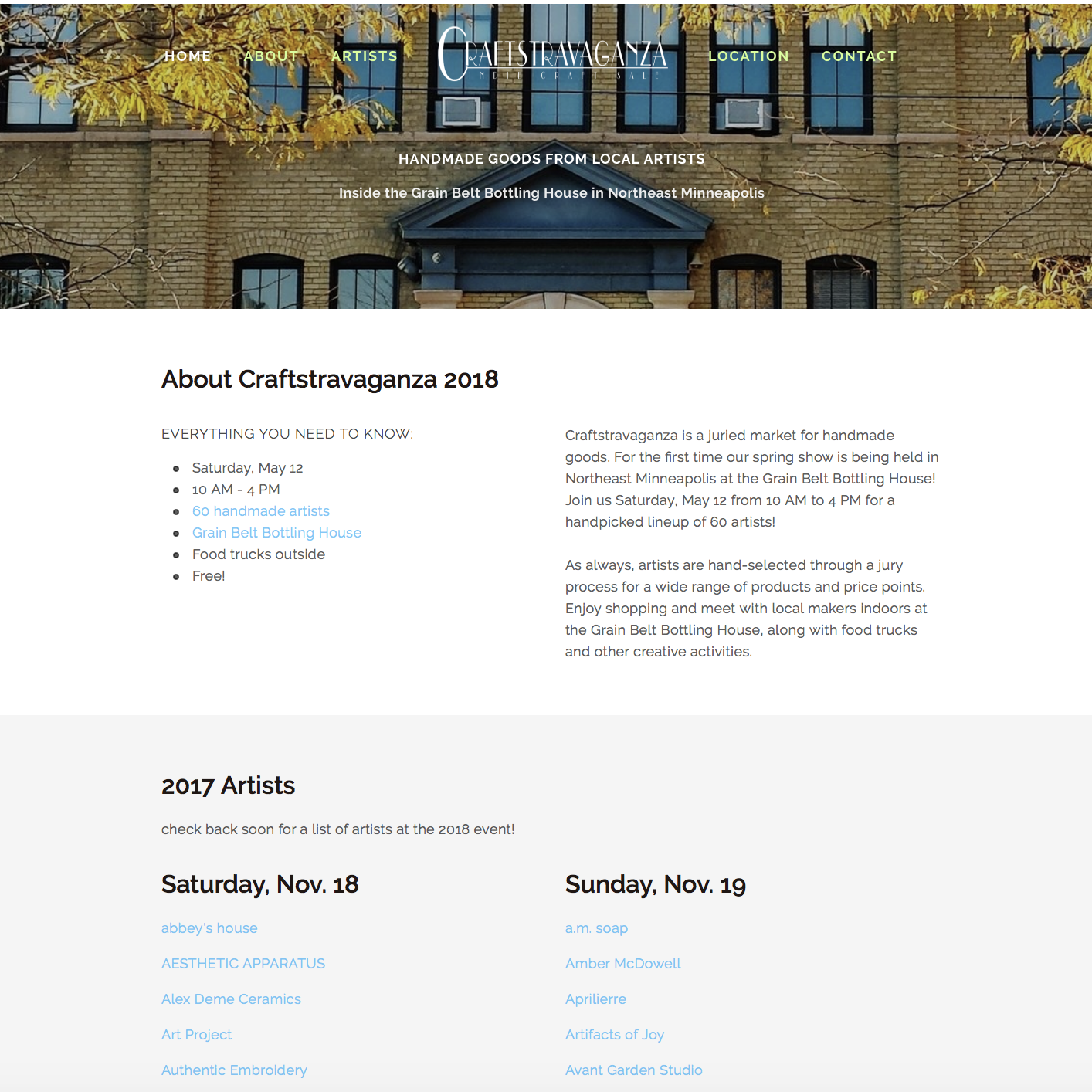 Final version of the redesigned site on Squarespace