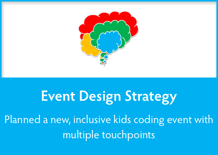 event design strategy  Planned a new, inclusive coding event for kids.