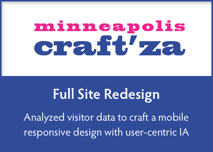 full site redesign  Analyzed visitor data to craft a mobile responsive design with user-centric information architecture.