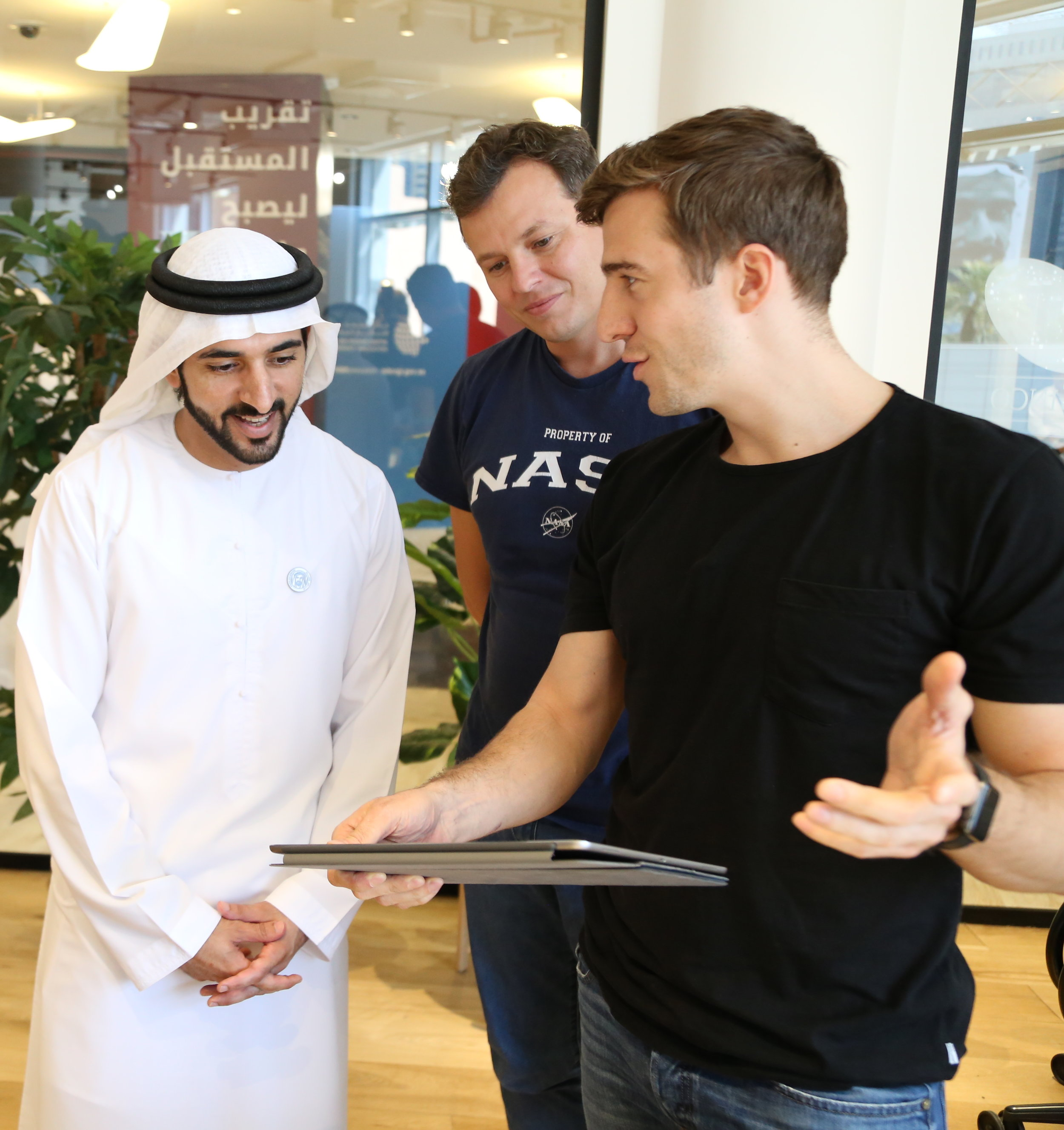 His Highness Sheikh Hamdan bin Mohammed bin Rashid Al Maktoum, Crown Prince of Dubai visits the Accelerator to discuss autonomous eVTOL vehicles with Alex Xydas of FlugAuto