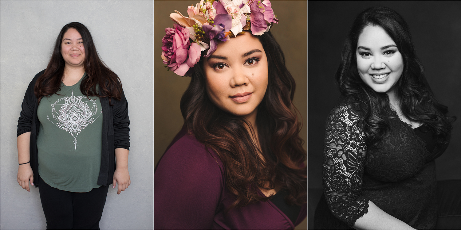Before and after photos during a photoshoot with Sacramento photographer Mayumi Acosta