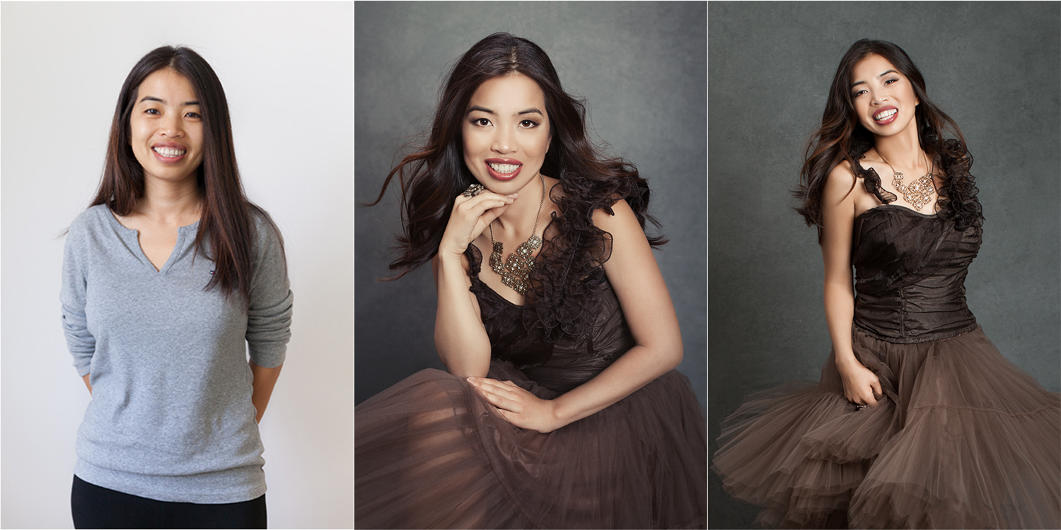 stunning before and after picture during a photoshoot with Sacramento photographer Mayumi Acosta
