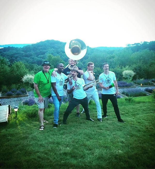 Huge shoutout to @terlalavender for having #funkcakeband out last night!! Also, HUGE thanks to everyone that came out - you all rocked it hard!! 😊🔥🙏🙏 * * * #beautifulview #funk #bandpic #cheesin #gig #giglife #giglifstyle #band #boom #brassband #brass #trumpet #trombone #tuba #sousaphone #drums #sax #nola #michigan #lakeleelanau #fedorable #bigbrass #party #partyonthelawn #fam #fungig  @arodiek @geoffgilldrums @devinaaronwitt @caitrodiek @traversecitytourism