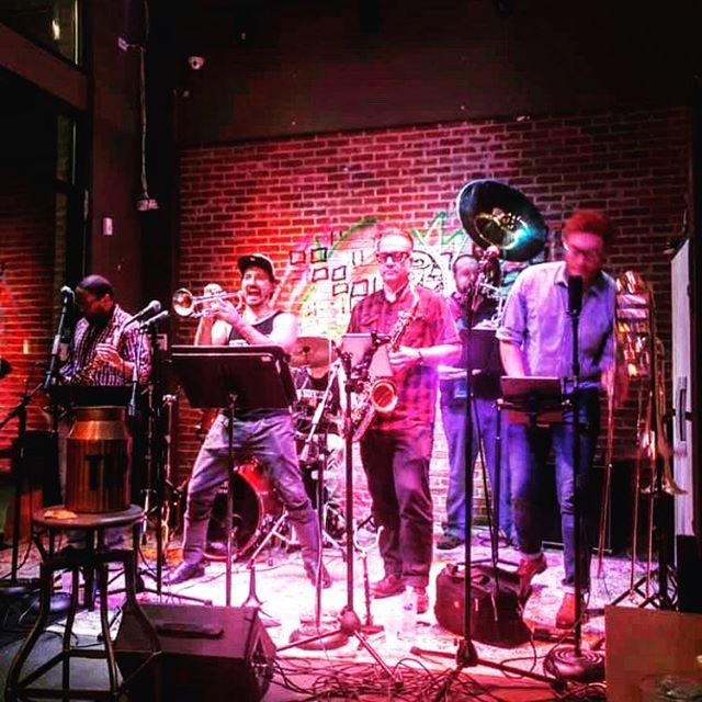 After a fabulous time in #michigan, we're back @coppercoinwoodstock this Friday @ 7:30pm!!!! It's good to be home 😊😎🙌🙌🙌🙌🙌 TREAT. YO. SELF!!!!!!! 🔥🔥🔥🔥 * * * #treatyoself #music #atlanta #geogia #actionshot #bandpic #band #werebackbitches #backatit #funk #funkband #brassband #boom #crazyeyes #colorful #gig #giglife #musiclife #woodstockga #trumpet #sax #drums #trombone #sousaphone  @arodiek @hiclevertiger @devinaaronwitt @caitrodiek @bendavismusic @geoffgilldrums @chrisotts14