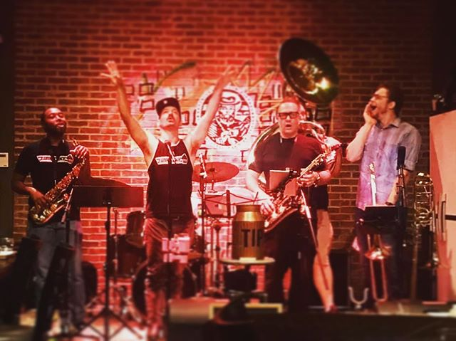 Conjuring the crazy out of thin air 😜😎🙌🙌🙌🙌 Big shout to everyone who came out to rock with #funkcakeband last night!! @coppercoinwoodstock was 🔥🔥🔥 See ya's on September 6th!!! * * * #bandpic #actionshot #actionpic #band #funk #funkband #nola #neworleans #atlanta #tanktops #trumpet #trombone #sax #sousaphone #drums #mesmorized #livemusic #gig #gigs #giglife #giglifestyle #musiclife #passion #life #passionformusic  @arodiek @geoffgilldrums @devinaaronwitt @bendavismusic @caitrodiek @hiclevertiger