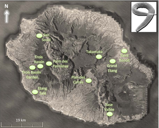 Map of La Réunion Island shows the complex topography and approximate locations of  Pristionchus pacificus  strains used in this study. Figure 1 in  article .