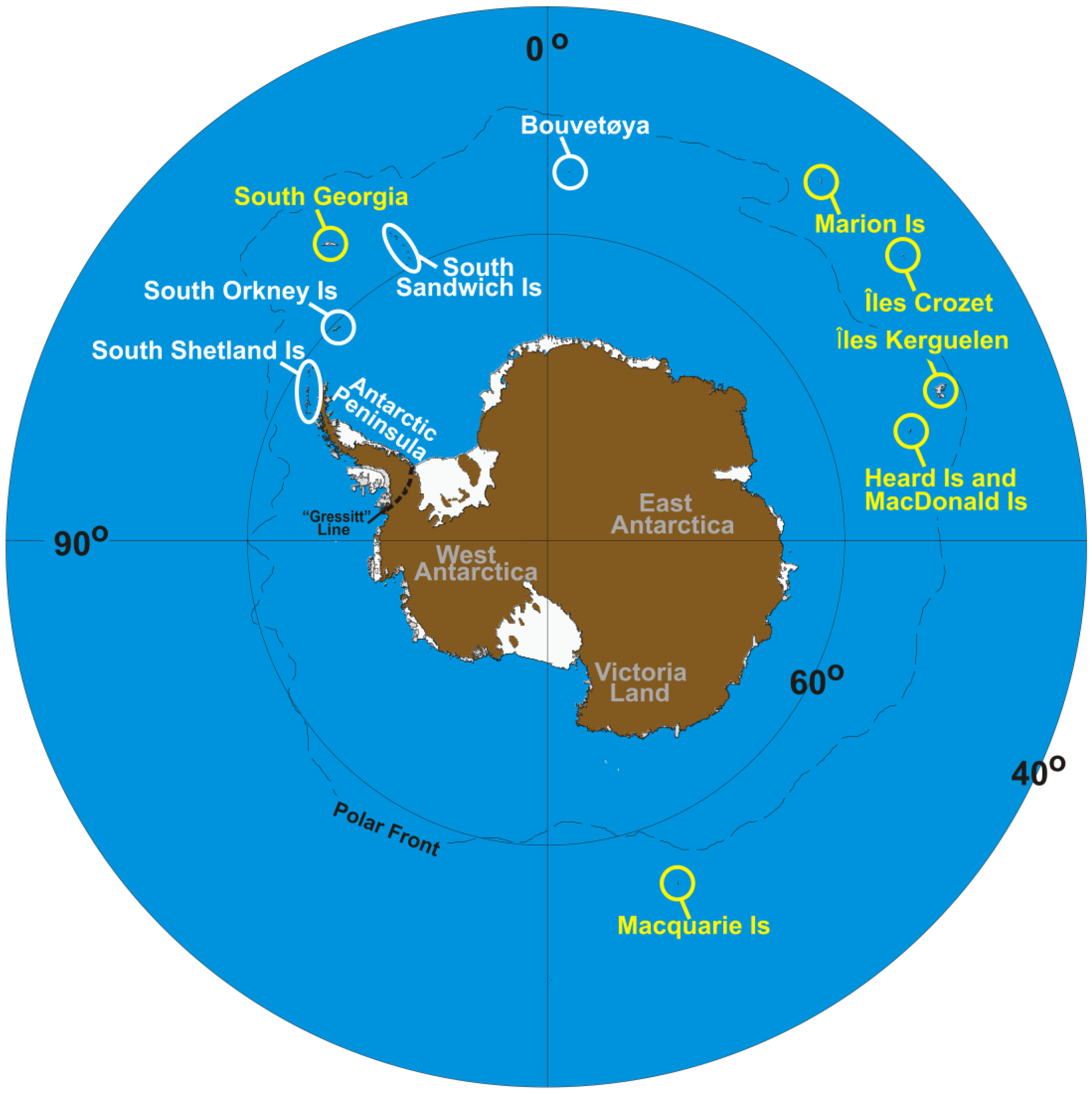 Map showing different Antarctic zones and locations. Figure 1 in  article .