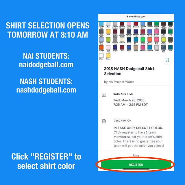 ATTENTION ALL DODGEBALL PLAYERS: Color Selection will open tomorrow at 8:10 AM for both schools. Please sign up using each school's respective link.  NASH students: nashdodgeball.com NAI students: naidodgeball.com  Only 1 player per team should submit a color request