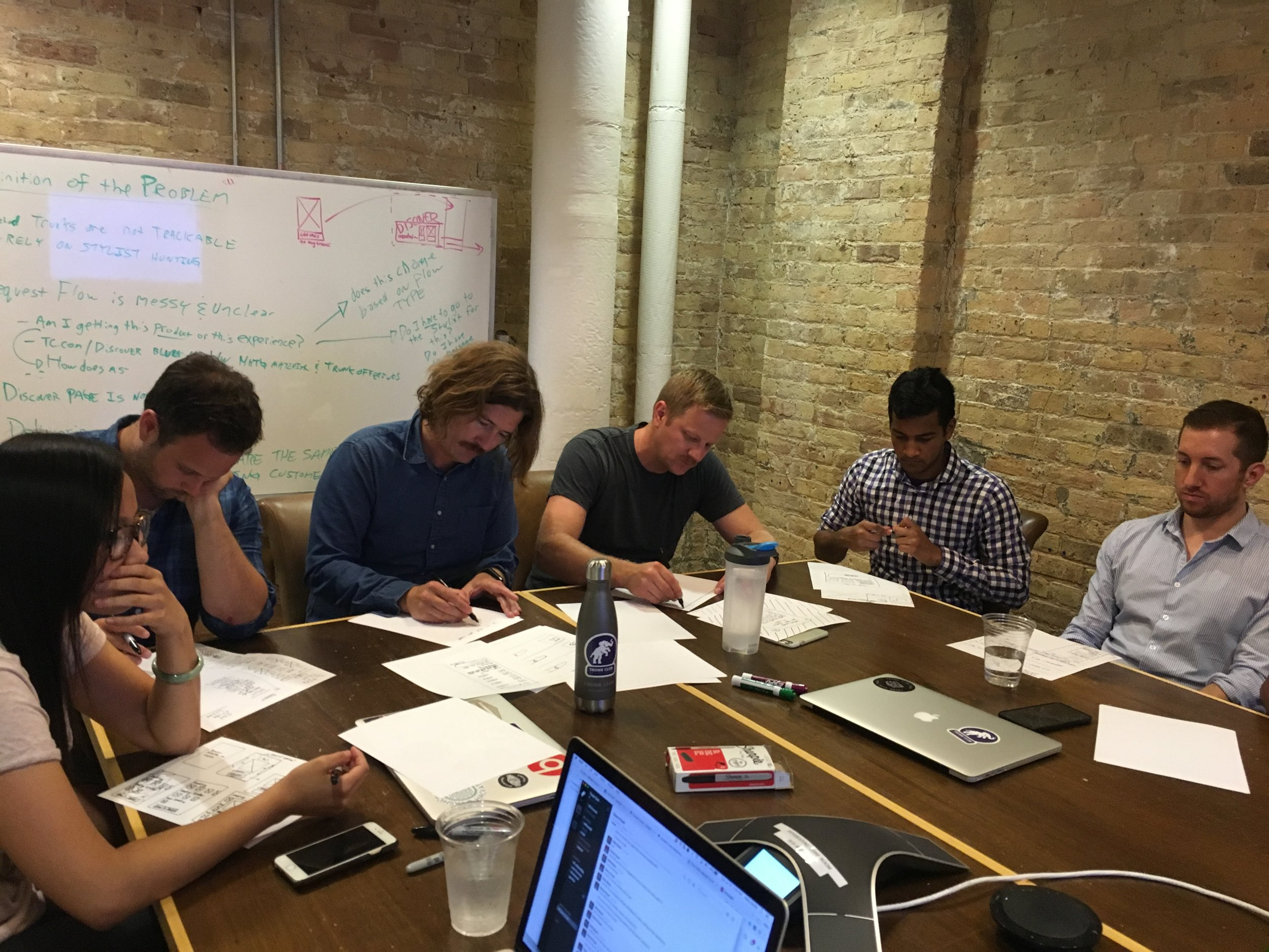 Armed with initial insights, we hosted a cross-functional sketching session led by myself and another product designer. In the room were designers, product managers, engineers, and marketing stakeholders.