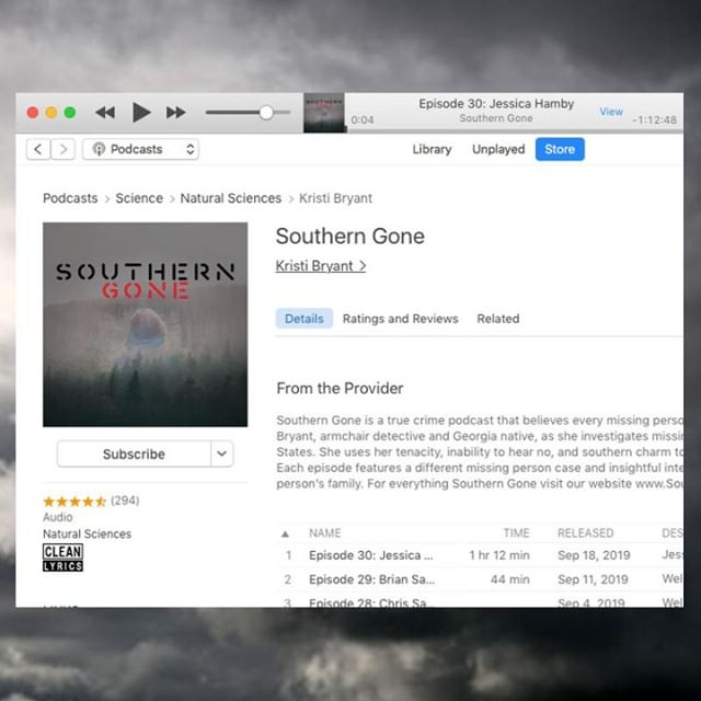 Thank you to the 294 people who have rated and reviewed Southern Gone on Apple Podcasts!  If you are a fan of the podcast please take a minute and leave us a review. It may not seem like much but it helps us gain more exposure for the missing person cases we cover.  https://apple.co/2qJHJKO  Don't forget to comment below so we can thank you!  #FanFriday
