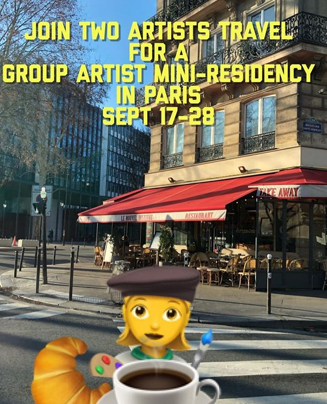 Have you ever dreamed of having a studio in Paris? The city known as a major culture and art center is calling your name! Our idea is that we will spend half of the time soaking in all that Paris has to offer an artist, all the inspiration, museums, and sites. The other will be spent in the studio, making art together. With daily guided prompts, conversation and feedback, it's a chance to spend time with other artists, doing things we love to do and giving your art a boost. Here's a opportunity to collaborate, start something new,  experiment, or focus on a project in an incredible studio space that will be home for our time there. Croissants, coffee and painting! . https://www.twoartiststravel.com/paris-france https://www.twoartiststravel.com . @susanstoverart @amandajolley #twoartiststravel #artandtravel #artandculture #travelwithus #artisttravel #inspiredtravels #adventureawaits #localartisans #culturalimmersion #artists #paris #france #artistresidency #architecture #museums #workingartist #groupresidency #parisloft