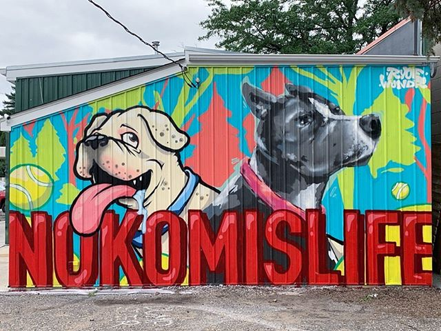 Here's a fun commission from earlier this summer @wundr and I worked on for the good folks over at @nokomistattoo. We painted the resident shop doggos Ollie and Cricket on the back wall.  Topped it all off with a neighborhood block party/ jam session, pop up art show and bbq. Summertime is the best time 🎾