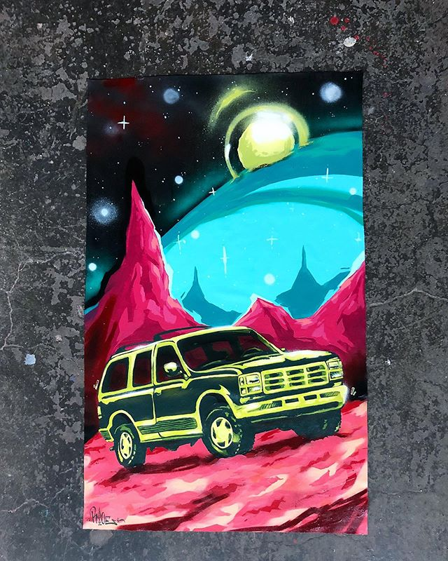 I did an interesting memory exercise in my sketchbook a while ago. The premise of it was simple- I started writing down cars that I have had life experiences in; e.g. my mother's Chevy Astro Van, my grandfathers orange Datsun, and so on. At the end of the exercise I had a list of random vehicles that were anchored to a cluster memories and ultimately an unorganized timeline of my life.  The cool thing about cars, especially very common models, is that they're interchangeable between people. My experiences are unique to me-yours to you, yet we share this commonality.  This explorer is on view through August at @timfaulknergallery in Louisville,KY. Serious inquires please contact the gallery. Thanks for looking. Approximately 100x60cm mixed media on unstreched canvas. ⠀⠀ ⠀⠀ ⠀⠀⠀ ⠀ . #acrylic #aerosol #art #canvas #fordexplorer #latex #marsexplorer #mixedmedia #painting #sospacedoutboiz