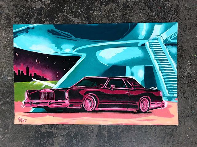 Extensive write up on the previous post- series on view through August at @timfaulknergallery in Louisville,KY. Serious inquires please contact the gallery. Approximately 100x60cm mixed media on unstretched canvas. Thanks for lookin'. 🤙 ⠀⠀ ⠀⠀ ⠀⠀⠀ ⠀ . #acrylic #aerosol #art #canvas #continental #latex #lincoln #lowrider #mixedmedia #painting #lowandslow