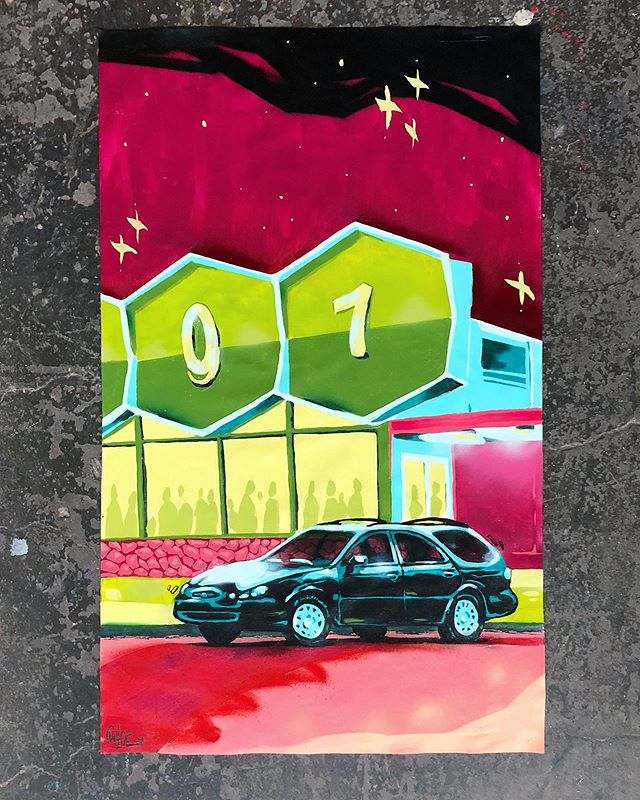 Last in the series. Details in previous post. See ya on Mars. ✌️👽 . ⠀⠀ #acrylic #aerosol #area51raid #art #canvas #continental #ford #latex #mixedmedia #painting #taurus