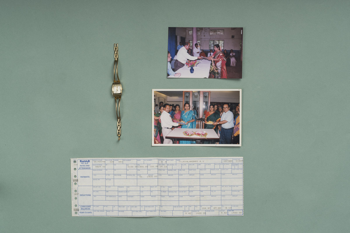 Mrs. Vijayalakshmi's priced possessions from her time at HMT. A very memorable pay-slip too!