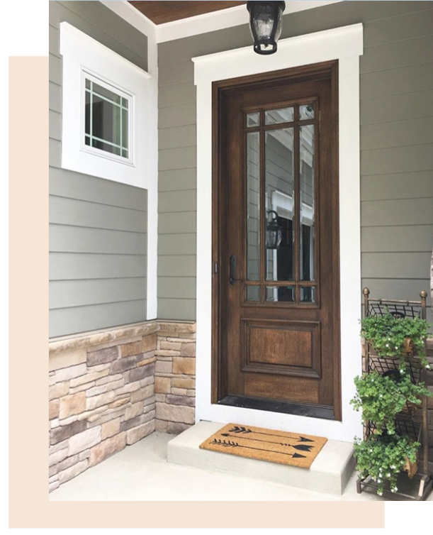 Modern farmhouse stained side door with 3/4 glass and stone-pewter gray exterior.