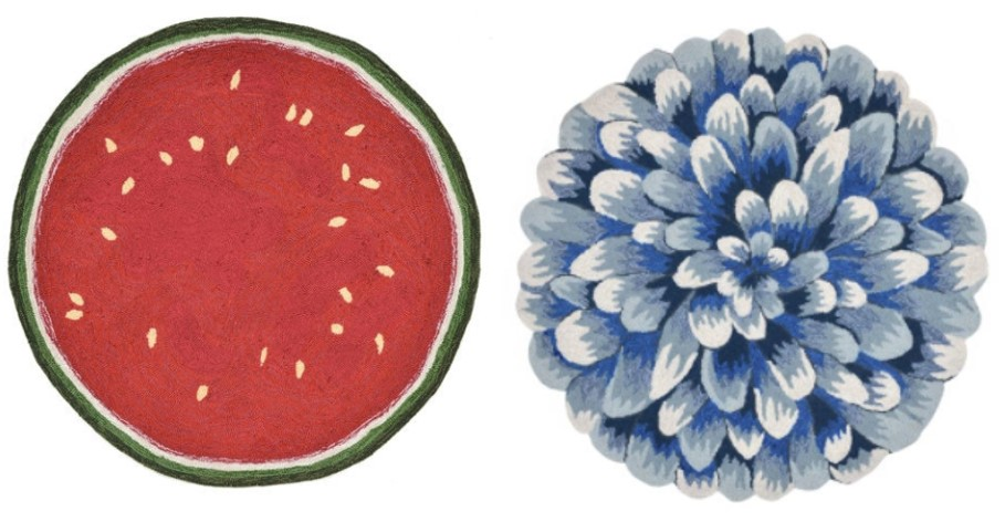 Watermelon Slice and Blue Mum Round Outdoor Rugs from Pier 1 - FarmhouseRedefined.com