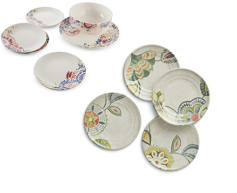 Crate and Barrel Zinnia Blooms and Alfresco Botanical Plates.