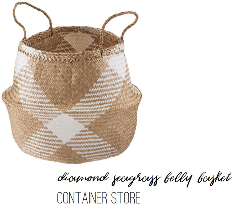Diamond Seagrass Belly Basket by Container Store