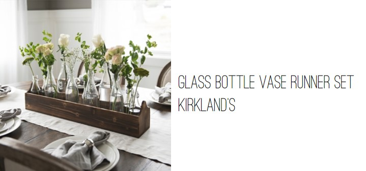 Kirkland's Glass Bottle Vase Runner Set.