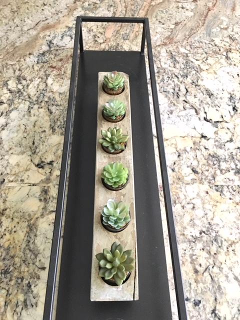 Metal framed kitchen island tray/centerpiece. Farmhouse Redefined.