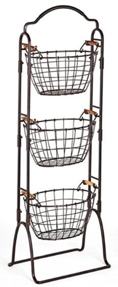 Amazon Stacking Basket Organizer with Wood Handle Detailing.