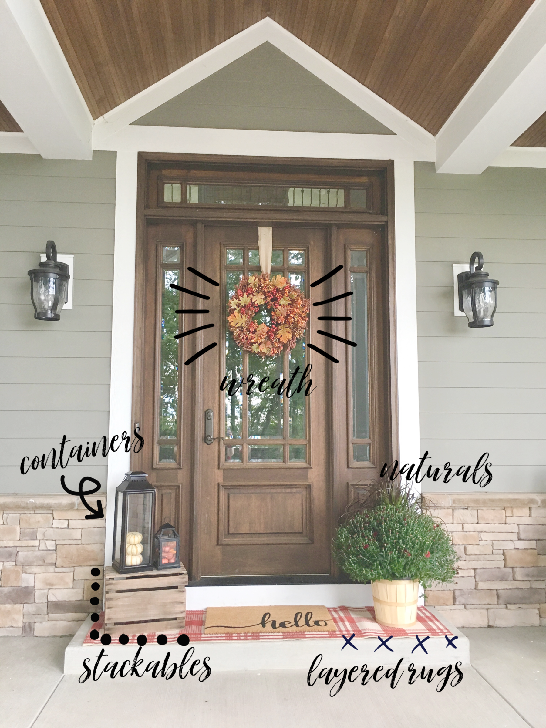Elements of a fall front porch. Farmhouse Redefined.